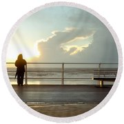 Seaside Person Round Beach Towel