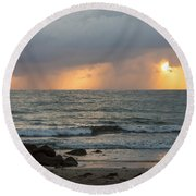 Seaside Rainstorm Round Beach Towel