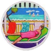 Seaside Siesta Round Beach Towel