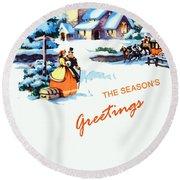 Season Greetings Round Beach Towel