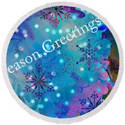 Season Greetings - Snowflakes Round Beach Towel