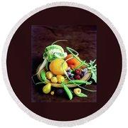 Seasonal Fruit And Vegetables Round Beach Towel