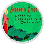 Seasons Greeting Round Beach Towel