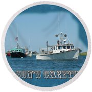 Season's Greetings Holiday Card - Boats In Peaceful Harbor Round Beach Towel