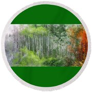 Seasons Of The Aspen Round Beach Towel