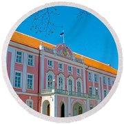Seat Of Parliament In Old Town Tallinn-estonia Round Beach Towel
