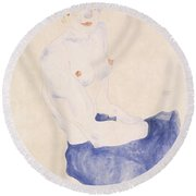 Seated Blue Nude, 1911 Round Beach Towel