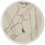 Seated Female Nude, 1918 Round Beach Towel