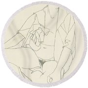 Seated Female Nude With Open Blouse Round Beach Towel