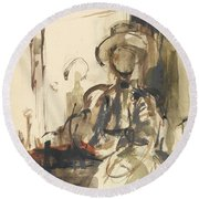 Seated Figure Woman Seated, Wearing Round Beach Towel