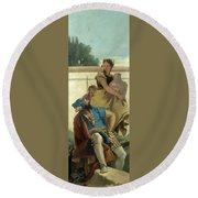 Seated Man Woman With Jar And Boy Round Beach Towel