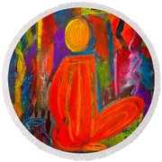 Seated Monk Round Beach Towel
