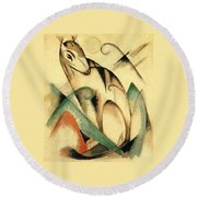 Seated Mythical Animal 1913 Round Beach Towel