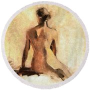 Seated Nude Round Beach Towel