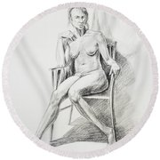 Seated Nude Model Study Round Beach Towel