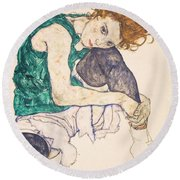 Seated Woman With Legs Drawn Up. Adele Herms Round Beach Towel