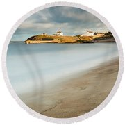 Seaton Sluice In Smooth Water Round Beach Towel