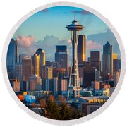 Seattle Afternoon Round Beach Towel