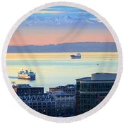 Seattle And Elliott Bay Round Beach Towel