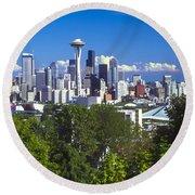 Seattle And Mt. Rainier Round Beach Towel