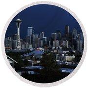 Seattle Blues Round Beach Towel