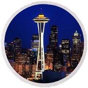 Seattle By Night Round Beach Towel