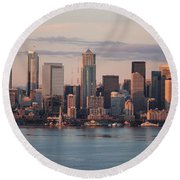 Seattle Dusk Skyline Round Beach Towel