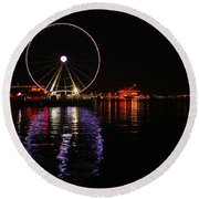 Seattle Ferris Wheel  Round Beach Towel