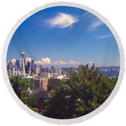 Seattle From Queen Anne Hill Round Beach Towel