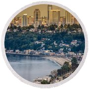 Seattle From The Air Round Beach Towel