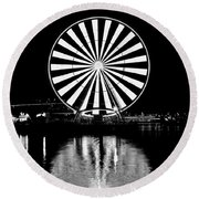 Seattle Great Wheel Black And White Round Beach Towel