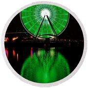 Seattle Great Wheel In Motion Round Beach Towel