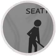 Seattle In Black And White Round Beach Towel