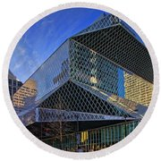 Seattle Library Round Beach Towel