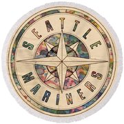 Seattle Mariners Poster Vintage Round Beach Towel