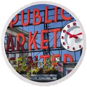 Seattle Market  Round Beach Towel