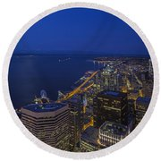 Seattle Moonset Glow Round Beach Towel