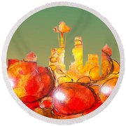 Seattle Over Cells - Marcello Cicchini Round Beach Towel