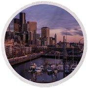 Seattle Skyline Bell Harbor Dusk Round Beach Towel