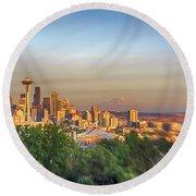 Seattle Skyline Lens Baby Hdr Round Beach Towel
