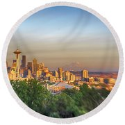 Seattle Skyline Lens Baby Hdr Round Beach Towel