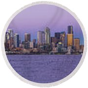 Seattle Skyline Panorama - Massive Round Beach Towel