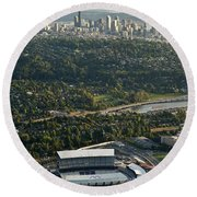 Seattle Skyline With Aerial View Of The Newly Renovated Husky St Round Beach Towel