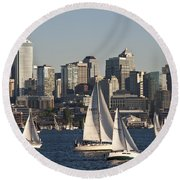 Seattle Skyline With Sailboats Round Beach Towel