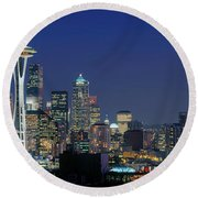 Seattle Skyline With Space Needle Round Beach Towel