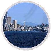 Seattle Skyscrapers Round Beach Towel