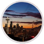 Seattle Sunrise Round Beach Towel