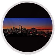 Seattle Sunrise Panorama Round Beach Towel
