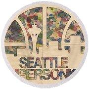 Seattle Supersonics Poster Vintage Round Beach Towel