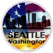 Seattle Wa Patriotic Large Cityscape Round Beach Towel